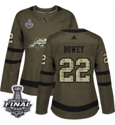Women's Adidas Washington Capitals #22 Madison Bowey Authentic Green Salute to Service 2018 Stanley Cup Final NHL Jersey
