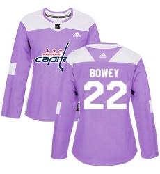 Women's Adidas Washington Capitals #22 Madison Bowey Authentic Purple Fights Cancer Practice NHL Jersey