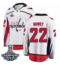 Youth Washington Capitals #22 Madison Bowey Fanatics Branded White Away Breakaway 2018 Stanley Cup Final Champions NHL Jersey