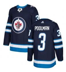 Men's Adidas Winnipeg Jets #3 Tucker Poolman Premier Navy Blue Home NHL Jersey