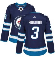 Women's Adidas Winnipeg Jets #3 Tucker Poolman Premier Navy Blue Home NHL Jersey