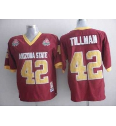 Sun Devils #42 Pat Tillman Red 1997 Rose Bowl Patch Embroidered NCAA Jersey