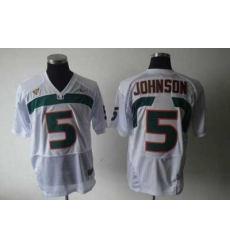 Hurricanes #5 Andre Johnson White Embroidered NCAA Jerseys