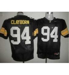 Hawkeyes #94 Adrian Clayborn Black Embroidered NCAA Jersey