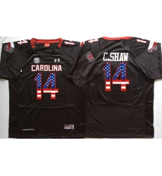 South Carolina Gamecocks #14 C.Shaw Black USA Flag College Jersey