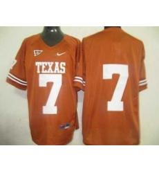 Longhorns #7 Orange Embroidered NCAA Jersey