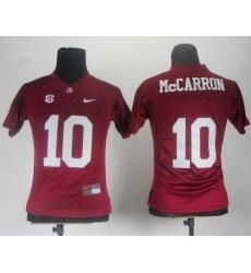 Women Alabama Crimson Tide 10 AJ McCarron Red College Football NCAA Jerseys
