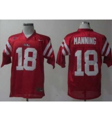 Ole Miss Rebels 18 Achie Manning Red College Football NCAA Jerseys