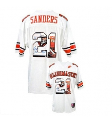 Oklahoma State Cowboys #21 Barry Sanders White With Portrait Print College Football Jersey