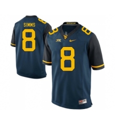 West Virginia Mountaineers 8 Marcus Simms Navy College Football Jersey