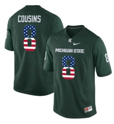 Michigan State Spartans #8 Kirk Cousins Green USA Flag College Football Jersey