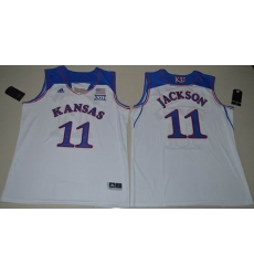 Kansas Jayhawks #11 Josh Jackson White Basketball Authentic Stitched NCAA Jersey