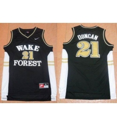 Wake Forest Demon Deacons #21 Tim Duncan Black Basketball Stitched NCAA Jersey