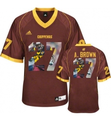 Central Michigan Chippewas #27 Antonio Brown Red With Portrait Print College Football Jersey5