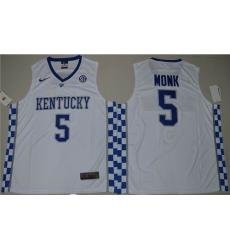 Kentucky Wildcats #5 Malik Monk White Basketball Elite Stitched NCAA Jersey