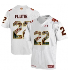 Boston College Eagles #22 Doug Flutie White With Portrait Print College Football Jersey2