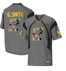 West Virginia Mountaineers #12 Geno Smith Gray With Portrait Print College Football Jersey