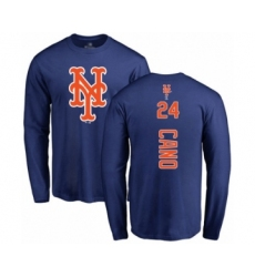 Baseball New York Mets #24 Robinson Cano Royal Blue Backer Long Sleeve T-Shirt