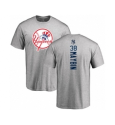 Baseball New York Yankees #38 Cameron Maybin Navy Blue Backer Long Sleeve T-Shirt