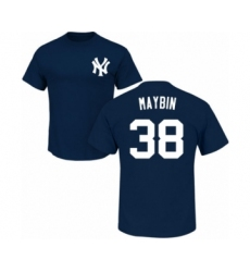 Baseball New York Yankees #38 Cameron Maybin Navy Blue Name & Number T-Shirt
