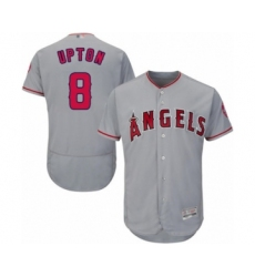 Men's Los Angeles Angels of Anaheim #8 Justin Upton Grey Road Flex Base Authentic Collection Baseball Jersey