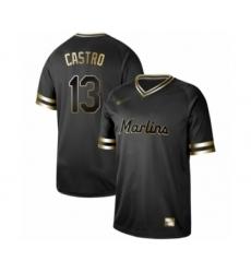 Men's Miami Marlins #13 Starlin Castro Authentic Black Gold Fashion Baseball Jersey