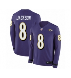 Youth Nike Baltimore Ravens #8 Lamar Jackson Limited Purple Therma Long Sleeve NFL Jersey