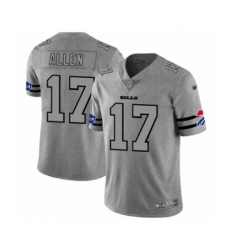 Men's Buffalo Bills #17 Josh Allen Limited Gray Team Logo Gridiron Football Jersey