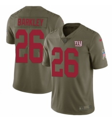 Men's Nike New York Giants #26 Saquon Barkley Limited Olive 2017 Salute to Service NFL Jersey