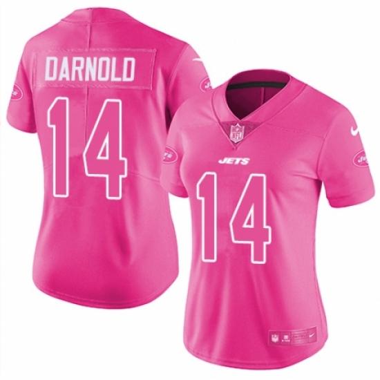 Women's Nike New York Jets #14 Sam Darnold Limited Pink Rush Fashion NFL Jersey