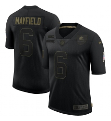 Men's Cleveland Browns #6 Baker Mayfield Black Nike 2020 Salute To Service Limited Jersey
