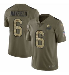 Men's Nike Cleveland Browns #6 Baker Mayfield Limited Olive Camo 2017 Salute to Service NFL Jersey