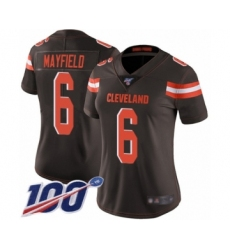 Women's Cleveland Browns #6 Baker Mayfield Brown Team Color 100th Season Vapor Untouchable Limited Player Football Jersey