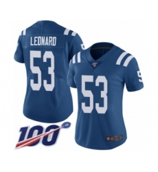 Women's Nike Indianapolis Colts #53 Darius Leonard Royal Blue Team Color Vapor Untouchable Limited Player 100th Season NFL Jersey