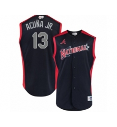 Men's Atlanta Braves #13 Ronald Acuna Jr. Authentic Navy Blue National League 2019 Baseball All-Star Jersey