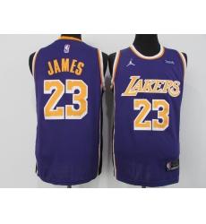 Men's Los Angeles Lakers #23 LeBron James Authentic Purple Jerseys