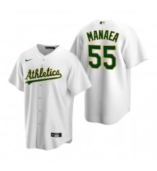 Men's Nike Oakland Athletics #55 Sean Manaea White Home Stitched Baseball Jersey