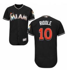 Men's Majestic Miami Marlins #10 JT Riddle Black Alternate Flex Base Authentic Collection MLB Jersey