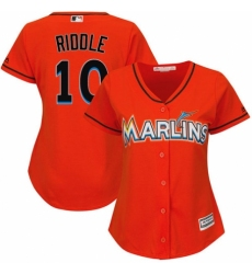 Women's Majestic Miami Marlins #10 JT Riddle Authentic Orange Alternate 1 Cool Base MLB Jersey