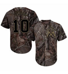 Youth Majestic Miami Marlins #10 JT Riddle Authentic Camo Realtree Collection Flex Base MLB Jersey