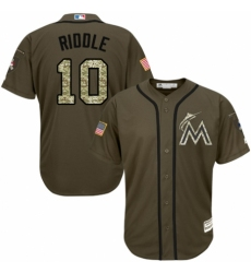Youth Majestic Miami Marlins #10 JT Riddle Authentic Green Salute to Service MLB Jersey