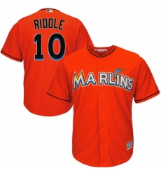 Youth Majestic Miami Marlins #10 JT Riddle Authentic Orange Alternate 1 Cool Base MLB Jersey
