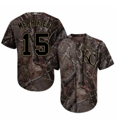 Men's Majestic Kansas City Royals #15 Whit Merrifield Authentic Camo Realtree Collection Flex Base MLB Jersey
