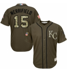 Men's Majestic Kansas City Royals #15 Whit Merrifield Authentic Green Salute to Service MLB Jersey