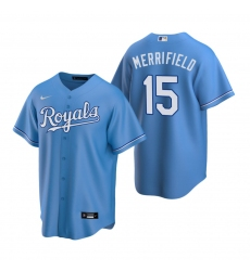 Men's Nike Kansas City Royals #15 Whit Merrifield Light Blue Alternate Stitched Baseball Jersey