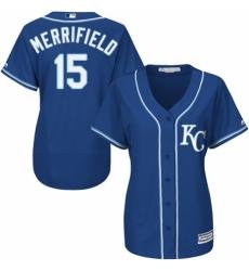Women's Majestic Kansas City Royals #15 Whit Merrifield Authentic Blue Alternate 2 Cool Base MLB Jersey