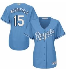 Women's Majestic Kansas City Royals #15 Whit Merrifield Authentic Light Blue Alternate 1 Cool Base MLB Jersey
