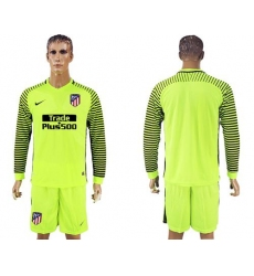 Atletico Madrid Blank Shiny Green Goalkeeper Long Sleeves Soccer Club Jersey1