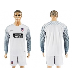 Atletico Madrid Blank White Goalkeeper Long Sleeves Soccer Club Jersey1