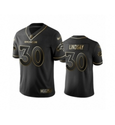 Men's Denver Broncos #30 Phillip Lindsay Black Golden Edition Limited Football Jersey